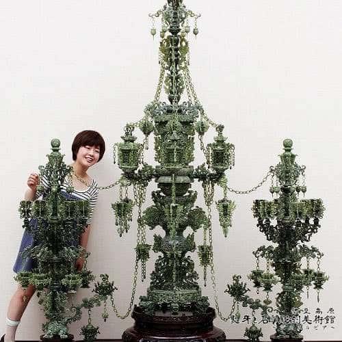 翡翠彫刻 母子塔